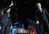 US President Barack Obama and vice president Joe Biden celebrate on the stage on election night in Chicago. Hollywood and the entertainment industry hailed the re-election of Obama, who won widespread celebrity backing and funding help in the race for the White House