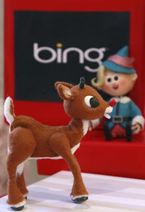 This Nov, 15, 2011 photo, shows Rudolph the Red Nose Reindeer, left, and Hermey, both figures from the animated show Rudolph the Red Nose Reindeer, at the Microsoft office in San Francisco. (AP Photo/Jeff Chiu)