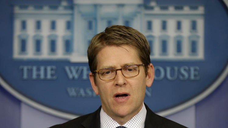 White House press secretary Jay Carney speaks during his daily news briefing at the White House in Washington, Tuesday, April, 2, 2013. (AP Photo/Pablo Martinez Monsivais)