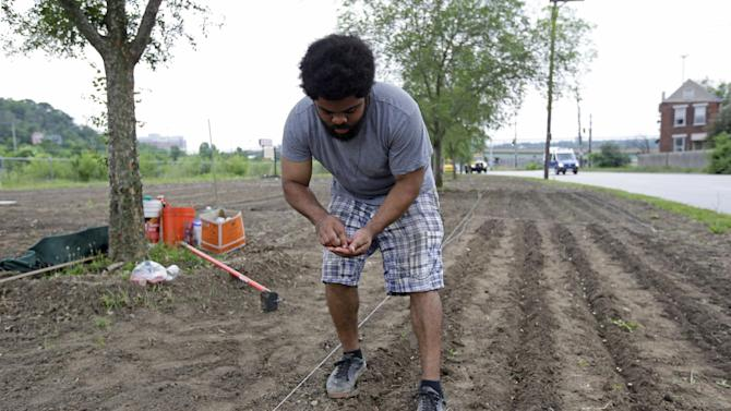 In this Wednesday, July 12, 2013 photo, volunteer Jonathan Sears plants seeds in a garden along Spring Grove Ave. near the Mill Creek, in Cincinnati. The creek runs through industrial areas and has long been a problem due to deforestation, pollution and sewer overflow. The city of Cincinnati is growing an edible forest garden near the creek as part of a years-long effort to restore the Mill Creek valley. (AP Photo/Al Behrman)