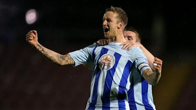 Coventry City's Carl Baker celebrates scoring the first goal (PA Photos)