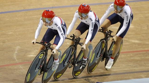 Britain's Laura Trott, Dani King and Elinor Barker compete during the women's team pursuit