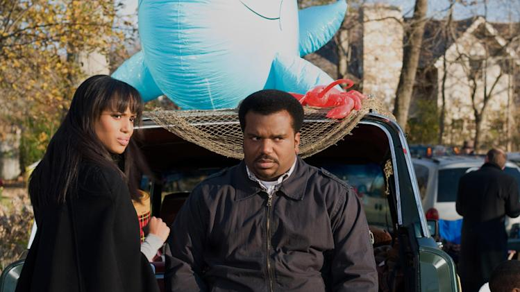 "This undated publicity photo released by Lionsgate shows, Kerry Washington, left, as Grace Peeples and Craig Robinson as Wade Walker in a scene from the film, Tyler Perry Presents ""Peeples.""  (AP Photo/Lionsgate, Nicole Rivelli)"