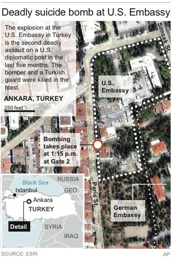 Satellite map locates Ankara, Turkey site of a U.S. embassy explosion.