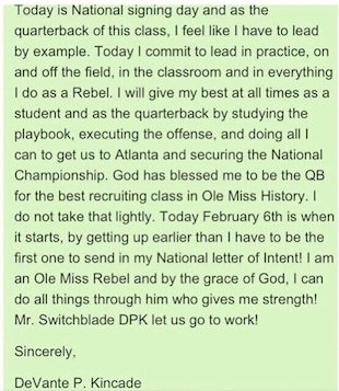 Devante Kincaid's signing day cover letter — Twitter
