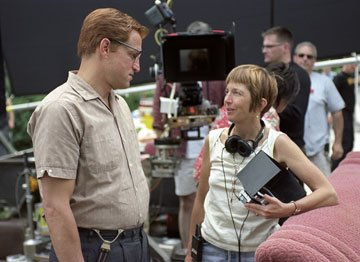 Woody Harrelson and director Jane Anderson on the set of DreamWorks Pictures' The Prize Winner of Defiance, Ohio