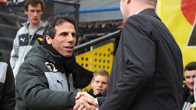Gianfranco Zola's, left, Watford side missed the chance to climb up to second in the npower Championship