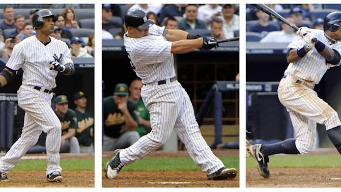 A series of photos shows New York Yankees who hit grand slams in a baseball game against the Oakland Athletics on Thursday, Aug. 25, 2011, in New York. From left are Robinson Cano, in the fifth inning; Russell Martin, in the sixth inning; and Curtis Granderson, in the eighth inning. The Yankees became the first team in major league history to hit three grand slams in a game, on the way to a 22-9 win. (AP Photo/Bill Kostroun)