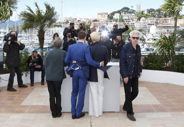 "Director Jim Jarmusch and cast members pose during a photocall for the film ""Only Lovers Left Alive"" at the 66th Cannes Film Festival"