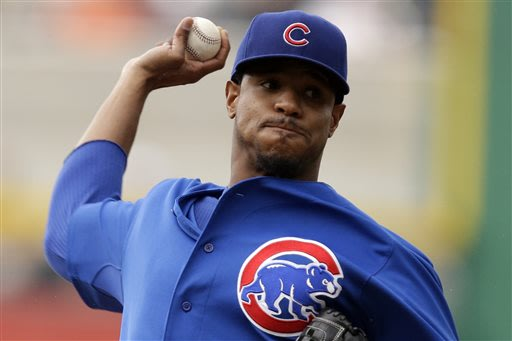 Chicago Cubs starting pitcher Edwin Jackson (36) delivers during the first inning of a baseball game against the Pittsburgh Pirates in Pittsburgh Thursday, May 23, 2013