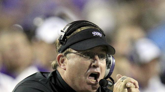 TCU head coach Gary Patterson yells from the sideline during the first half of an NCAA college football game Kansas State, Saturday, Nov. 10, 2012, in Fort Worth, Texas. (AP Photo/LM Otero)