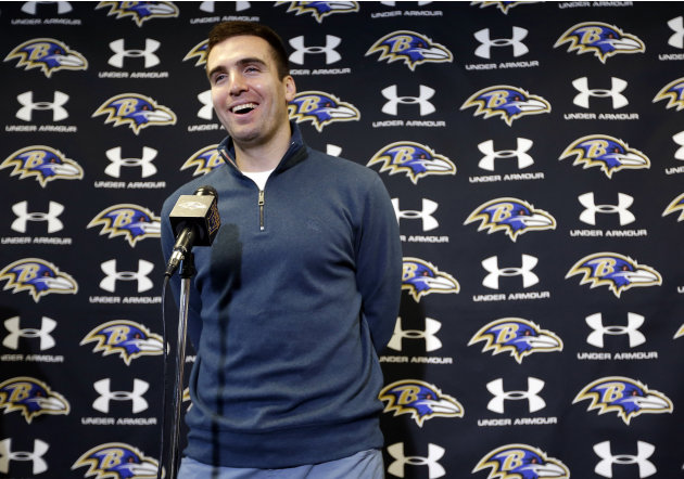 Baltimore Ravens quarterback Joe Flacco speaks at a news conference at the team's practice facility in Owings Mills, Md., Monday, March 4, 2013. Flacco agreed to a contract that will make him the rich