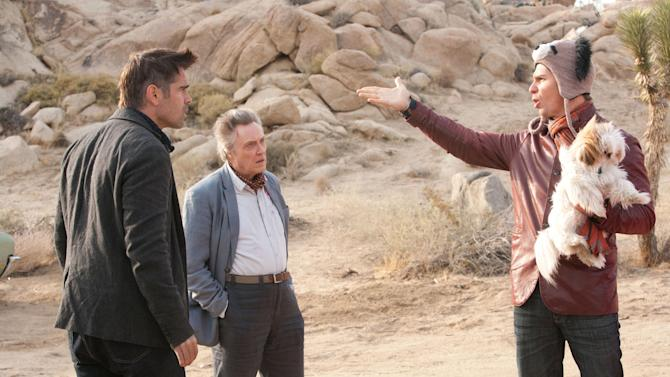 """This film image released by CBS Films shows Colin Farrell, left, Christopher Walken, center, and Sam Rockwell in a scene from """"Seven Psychopaths."""" (AP Photo/CBS Films, Chuck Zlotnick)"""