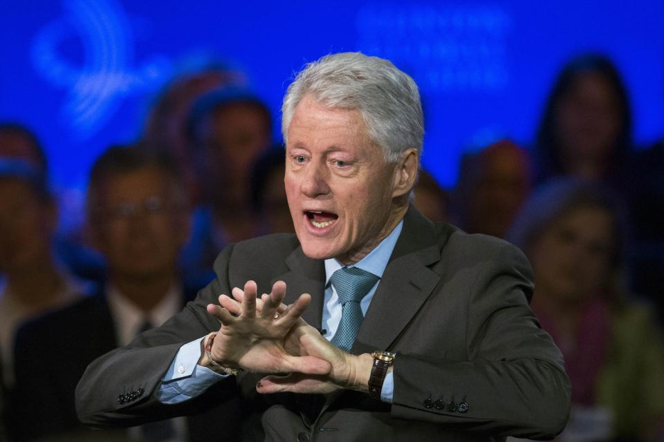Former U.S. President Bill Clinton speaks during an interview at the Clinton Global Initiative in New York