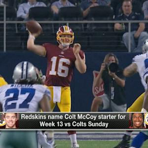 Washington Redskins head coach Jay Gruden believes quarterback Colt McCoy maximizes use of other 10 guys