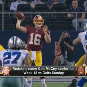Washington Redskins head coach Jay Gruden believes quarterback Colt McCoy maximizes use of other 10 guys