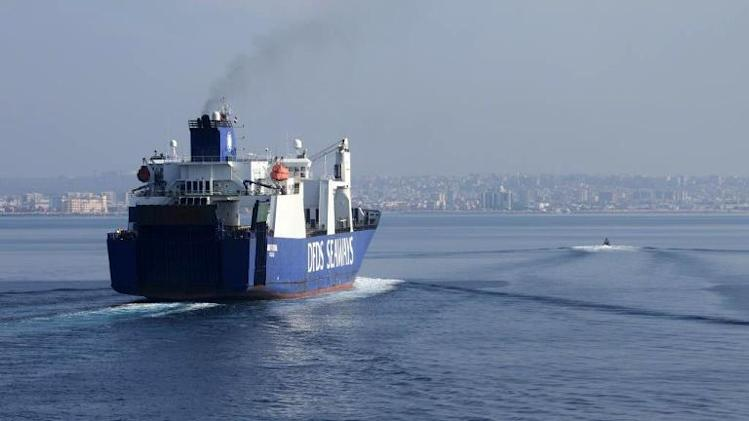 "A handout picture taken on January 7, 2014, and released by Norwegian Armed Forces shows the Danish cargo ship ""Ark Futura"" arriving at the Syrian port of Latakia before being loaded with chemical agents"