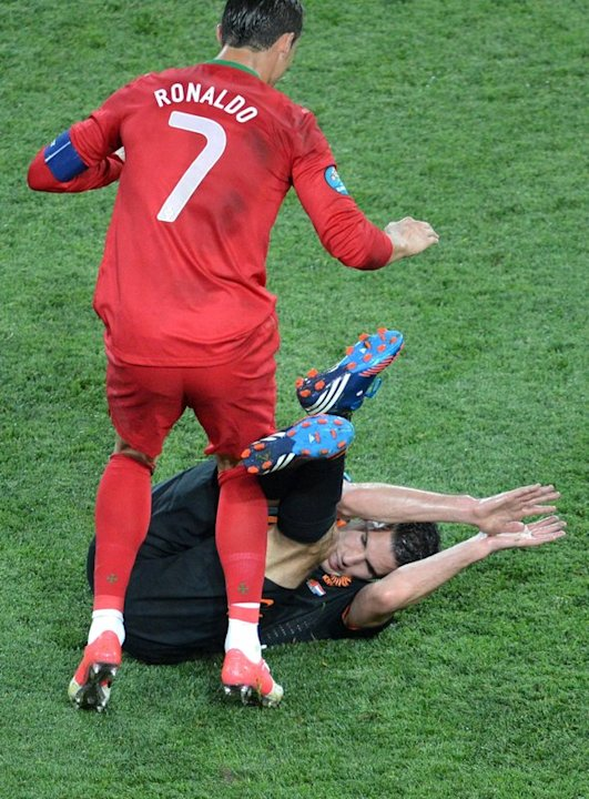 Portuguese Forward Cristiano Ronaldo Falls AFP/Getty Images