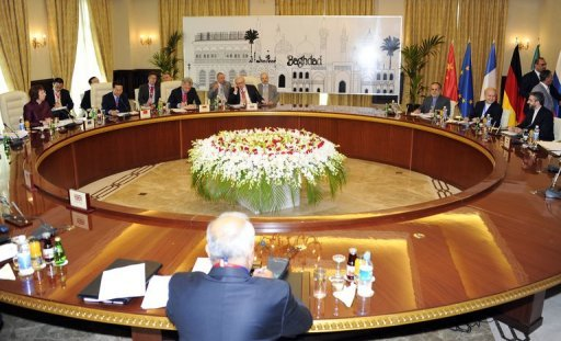 This file photo, released by the Iraqi government, shows representatives of the P5+1 -- the US, Russia, China, Britain, France and Germany -- during a meeting with Iran's chief negotiator Saeed Jalili (R) in Baghdad, on May 23, 2012. P5+1 will next meet Iranian top representatives to discuss the Islamic state's disputed nuclear programme in Istanbul at the end of January, a Russian official said