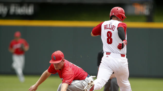 Stony Brook first baseman Casey Baker, left, scoops up a low ball for an out against North Carolina State's Ryne Willard (8) in the first inning at the Fort Worth Regional of the NCAA college baseball tournament  in Fort Worth, Texas, on Friday, May 29, 2015. N.C. State won 3-0. (AP Photo/Brad Loper)