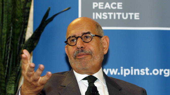 """Former Director General of the International Atomic Energy Agency, IAEA, and Nobel Peace Prize winner Mohamed El Baradei speaks to the media in Vienna, Austria, Thursday May 24, 2012. As Egyptians chose their first democratically elected president, reform leader ElBaradei says who wins is less important than establishing national unity. He told The Associated Press that choice between reformist, Islamist or pragmatist pales behind getting Egyptians to agree """"on the basic common values that they're going to live under."""" (AP Photo/Ronald Zak)"""