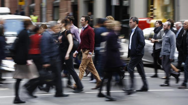 Australian workers are pictured on the streets of Sydney