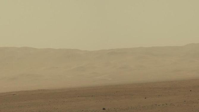 This image provided by NASA shows a high-resolution 360-degree color panorama of Gale Crater taken by the Curiosity rover, which landed on Mars on August 5, 2012. A low-quality version was released earlier. Curiosity is on a two-year mission to study whether Gale could support microbial life. (AP Photo/NASA)