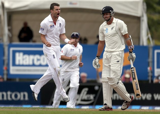 England's Anderson yells towards New Zealand's Fulton after he dismissed him for 55 runs during the third day of the first test at the University Oval in Dunedin