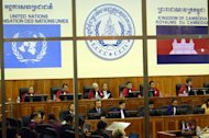 This handout photo taken and released by the Extraordinary Chamber in the Courts of Cambodia (ECCC) shows the main courtroom at the ECCC in Phnom Penh, on October 19, 2011. Cambodia's cash-strapped war crimes tribunal has staved off a strike by local staff over unpaid wages that would have further delayed the trial of two Khmer Rouge leaders, officials said on Friday