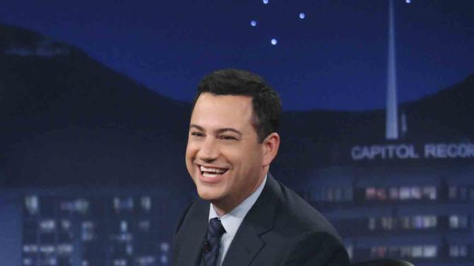 "This July 25, 2012 photo released by ABC shows Jimmy Kimmel hosting his late night show ""Jimmy Kimmel Live,"" in the Hollywood section of Los Angeles. ABC says it's moving ""Jimmy Kimmel Live"" into the thick of the late-night fight against Jay Leno and David Letterman. Starting in January, Kimmel's talk show will take over the 11:35 p.m. time slot long held by the news magazine ""Nightline,"" ABC said Tuesday, Aug. 21. (AP Photo/ABC, Richard Cartwright)"