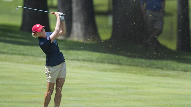 US golfer Stacy Lewis during the third round of the LGPA International Crown in Owings Mills, Maryland on July 26, 2014