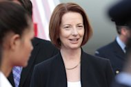 Australian Prime Minister Julia Gillard pictured upon arrival at Phnom Penh International Airport on November 19, 2012. Australia's opposition coalition has increased its lead as support for Gillard and her Labor Party wanes ahead of September elections, according to a poll