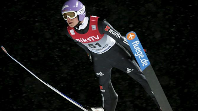 Wellinger of Germany soars in the air during a training session of the FIS Ski Jumping World Cup Flying Hill competition in Vikersund