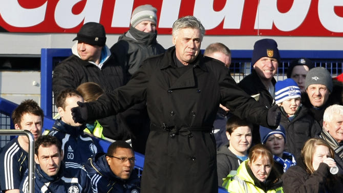 Chelsea manager Carlo Ancelotti reacts during their English FA Cup fourth round soccer match against Everton at Goodison Park, Liverpool, England, Saturday Jan. 29, 2011. The match ended in a 1-1 draw. (AP Photo/Tim Hales) NO INTERNET/MOBILE USAGE WITHOUT FOOTBALL ASSOCIATION PREMIER LEAGUE(FAPL)LICENCE. CALL +44 (0) 20 7864 9121 or EMAIL info@football-dataco.com FOR DETAILS