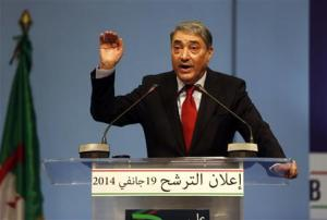 Former Prime Minister Ali Benflis holds a news conference to announce his candidacy for the presidential election in Algiers