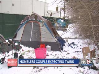 Homeless couple living along White River expecting twins in February