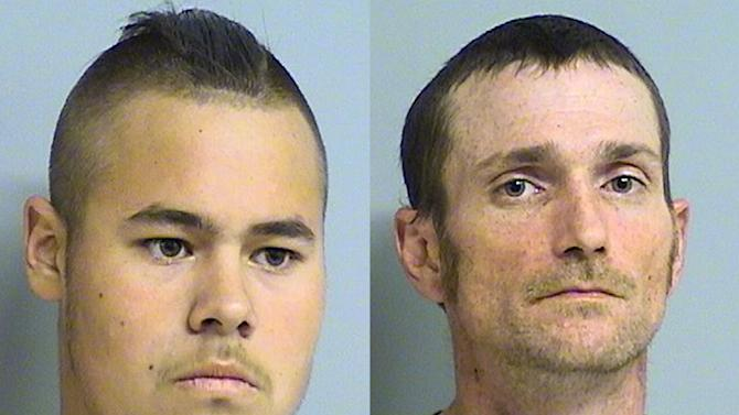 This photo combo of images provided by the Tulsa Police Department via the Tulsa World shows Jacob England, left, and Alvin Watts. According to police, England, 19, and Watts, 32, will be charged with three counts of murder and two counts of shooting with intent to kill, after being arrested early Sunday, April 8, 2012, for their involvement in the recent shootings in Tulsa, Okla., that left three people dead and two others critically wounded. (AP Photo/Tulsa Police Department via Tulsa World)