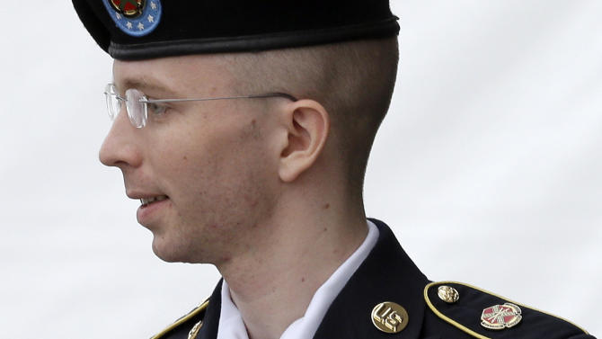 FILE - In this July 30, 2013, file photo, Army Pvt. Chelsea Manning, then-Army Pfc. Bradley Manning, is escorted out of a courthouse in Fort Meade, Md., after receiving a verdict in his court martial. Manning, who was convicted of sending more than 700,000 secret military and State Department documents to the secrets-sharing website WikiLeaks, said in a letter posted by the Private Manning Support Network that she will go to court, if necessary, to be allowed to live as a woman and receive hormone replacement therapy. Manning is serving a 35-year sentence at the U.S. Disciplinary Barracks, a men's military prison at Fort Leavenworth, Kan. (AP Photo/Patrick Semansky, File)