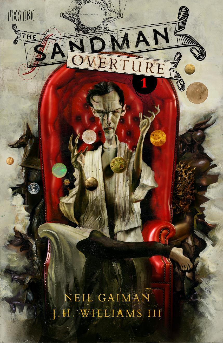 "This comic book cover image released by Vertigo/DC Entertainment shows ""The Sandman: Overture."" The series, illustrated by J.H. Williams III, comes out in October, the latest achievement for the British-born author Neil Gaiman. (AP Photo/Vertigo/DC Entertainment)"