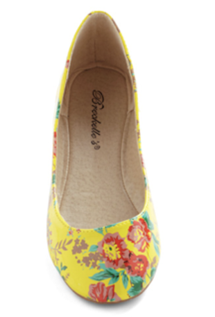 Yellow floral flats