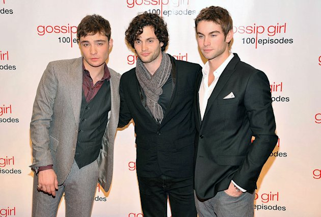 "(L-R) Ed Westwick, Penn Badgley, and Chace Crawford attend the ""Gossip Girl"" 100 episode celebration at Cipriani Wall Street on November 19, 2011 in New York City."
