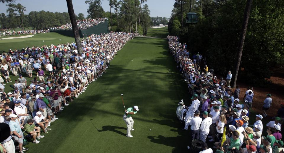 Tiger Woods tees off on the 18th hole during a practice round for the Masters golf tournament Wednesday, April 4, 2012, in Augusta, Ga. (AP Photo/Matt Slocum)