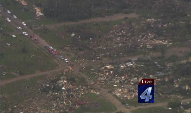 An aerial view of the damage in the aftermath of tornadoes that touched down near Shawnee Twin Lakes