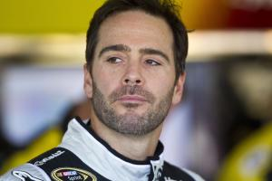 Jimmie Johnson waits for practice laps for the NASCAR…