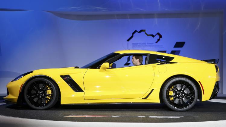 Profile view of the new Chevrolet Corvette Stingray ZO6 as it is unveiled during the press preview day of the North American International Auto Show in Detroit
