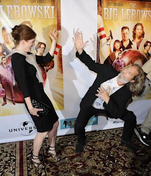 """Actress Julianne Moore and actor Jeff Bridges attend """"The Big Lebowski"""" limited edition Blu-Ray DVD launch event at The Hammerstein Ballroom on Tuesday, Aug. 16, 2011 in New York. (AP Photo/Evan Agostini)"""