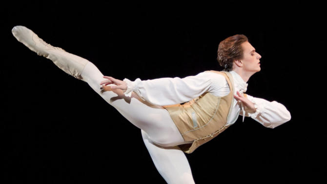 "FILE - In this Thursday, Jan. 26, 2011 file photo, made available by London's Royal Opera House, Ukrainian dancer Sergei Polunin dances in the Royal Ballet production of Sleeping Beauty by Tchaikovsky in 2011 at the Royal Opera House, London. Sergei Polunin, the ballet superstar as famous for his abrupt exits as his athletic leaps, is returning to the London stage. And this time, he's going to show up and stay the course. Almost certainly. Polunin said Tuesday, May 28, 2013: ""You have to take it day by day, but I'm pretty sure."" Polunin went from dance-world celebrity to headline news when he walked out last year on the Royal Ballet, which had made the Ukrainian prodigy its youngest-ever male principal dancer at 19. (AP Photo/ Johan Persson /Royal Opera House, File)"