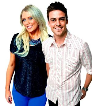 2day FM radio hosts Mel Greig (L) and Michael Christian --