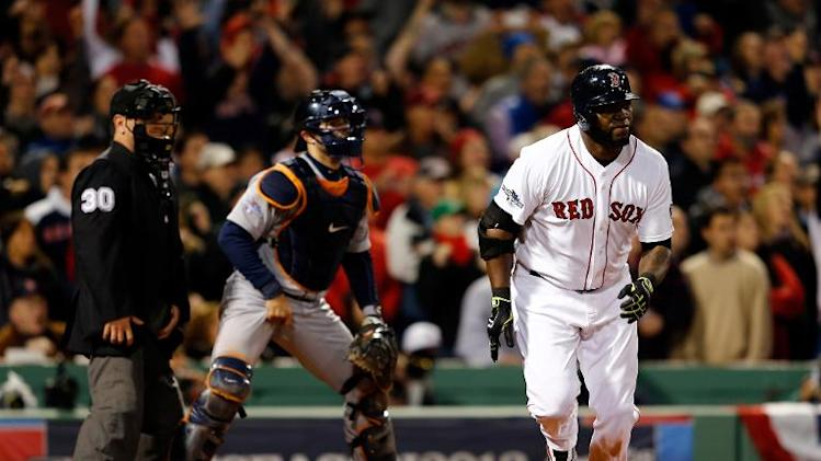 David Ortiz of the Boston Red Sox during the game against the Detroit Tigers on October 13, 2013 in Boston