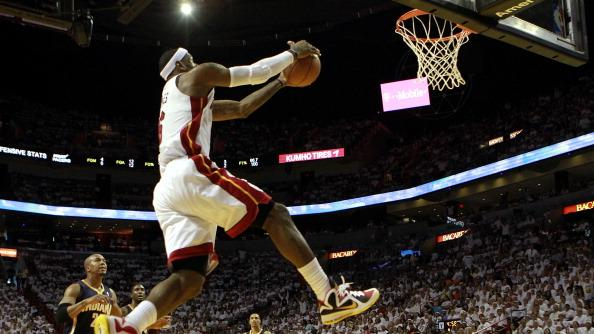 Forward Lebron James #6 of the Miami Heat dunks against the Indiana Pacers in Game One of the Eastern Conference Semifinals in the 2012 NBA Playoffs on May 13, 2012 at the American Airines Arena in Miami, Florida. NOTE TO USER: User expressly acknowledges and agrees that, by downloading and or using this photograph, User is consenting to the terms and conditions of the Getty Images License Agreement. (Photo by Marc Serota/Getty Images)